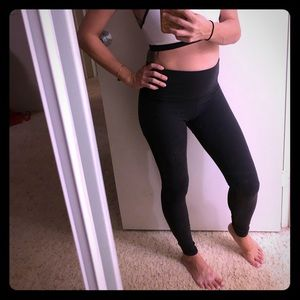 Beyond yoga pants, black with sheer